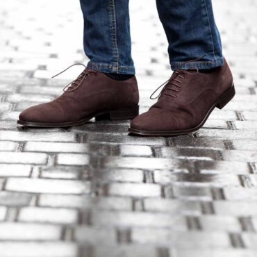Brown Suede business casual Oxford shoes style for men Beatnik Corso handmade in Spain by Beatnik Shoes