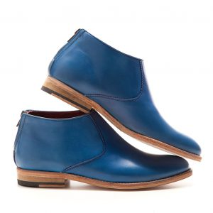Astrud botines planos para mujer en piel azul por Beatnik Shoes