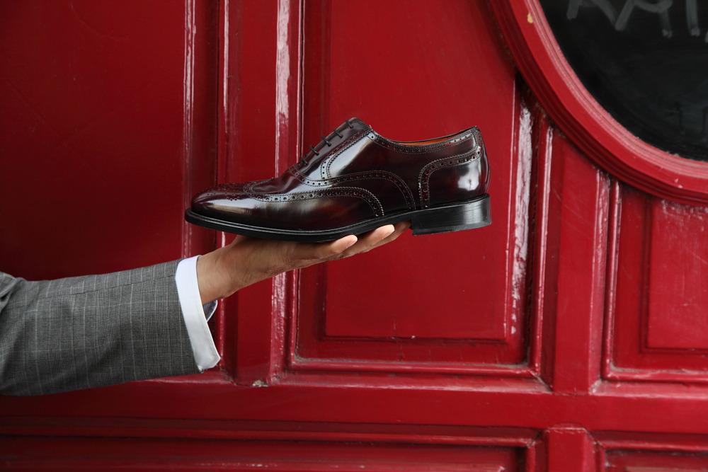 Zapato de cordones Oxford burdeos para hombre en piel