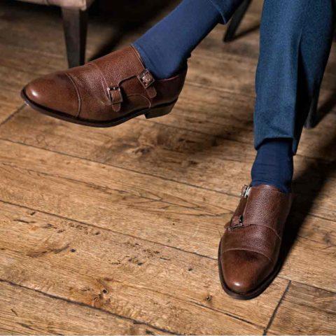 Zapato de dos hebillas marrón de hombre Lamantia Brown Hecho a mano en España por Beatnik Shoes