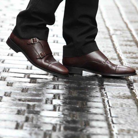 Zapato monk de doble hebilla en piel Imel marrón para hombre Lamantia Brown Hecho a mano en España por Beatnik Shoes