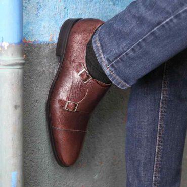Zapato monk dos hebillas marrón de hombre Lamantia Brown Hecho a mano en España por Beatnik Shoes