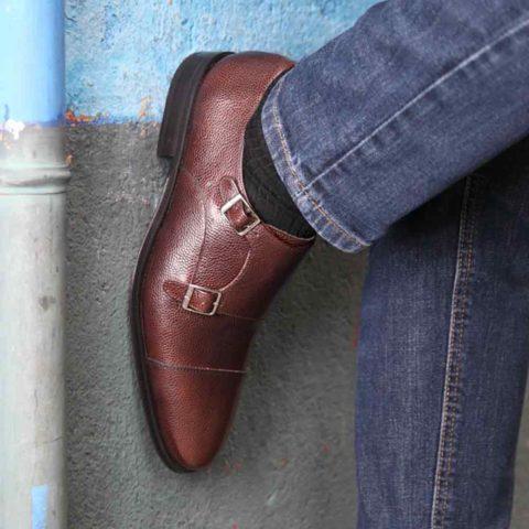 Zapato monk doble hebilla en piel Imel marrón de hombre Lamantia Brown Hecho a mano en España por Beatnik Shoes
