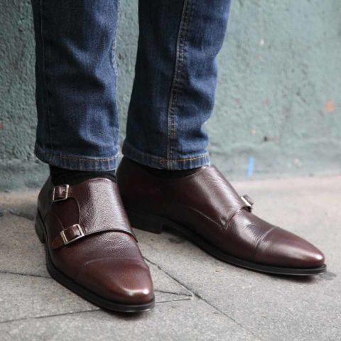 Zapato monk strap de doble hebilla en piel Imel marrón de hombre Lamantia Brown Hecho a mano en España por Beatnik Shoes