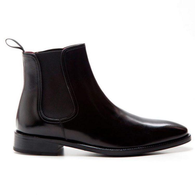 Cassady bota negra Chelsea hombre por Beatnik Shoes