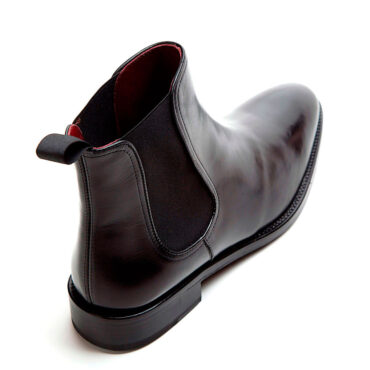 Black Leather ankle Chelsea boots laceless for men Cassady by Beatnik Shoes