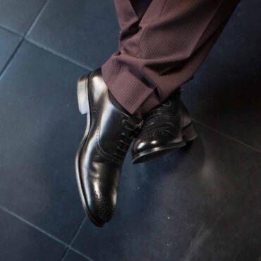 Kaufman Men's Oxford Legate Formal Shoe Black Semi Brogue by Beatnik Shoes