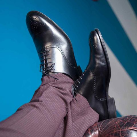 Zapato de cordones negro de ceremonia Oxford Legate para hombre Kaufman hecho a mano en España por Beatnik Shoes
