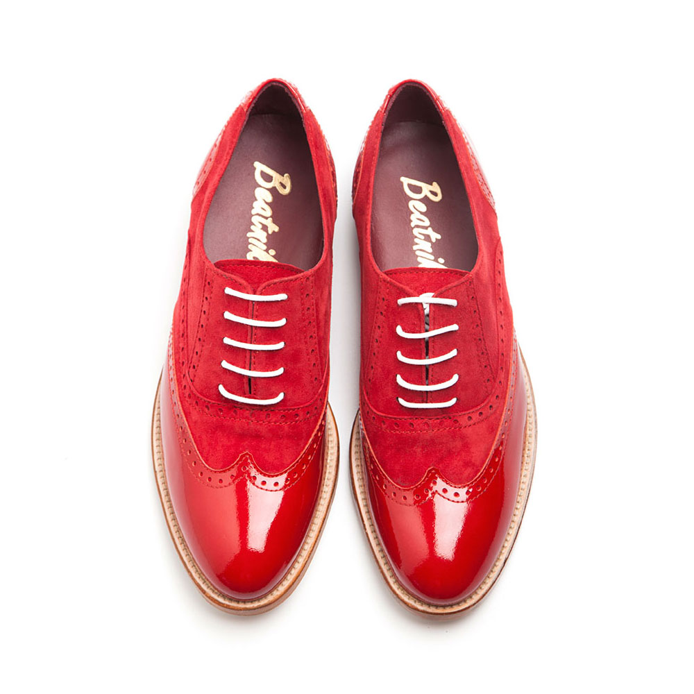 0428da71c27ad Red Oxford Shoes for women Lena Too red in suede and patent leather.