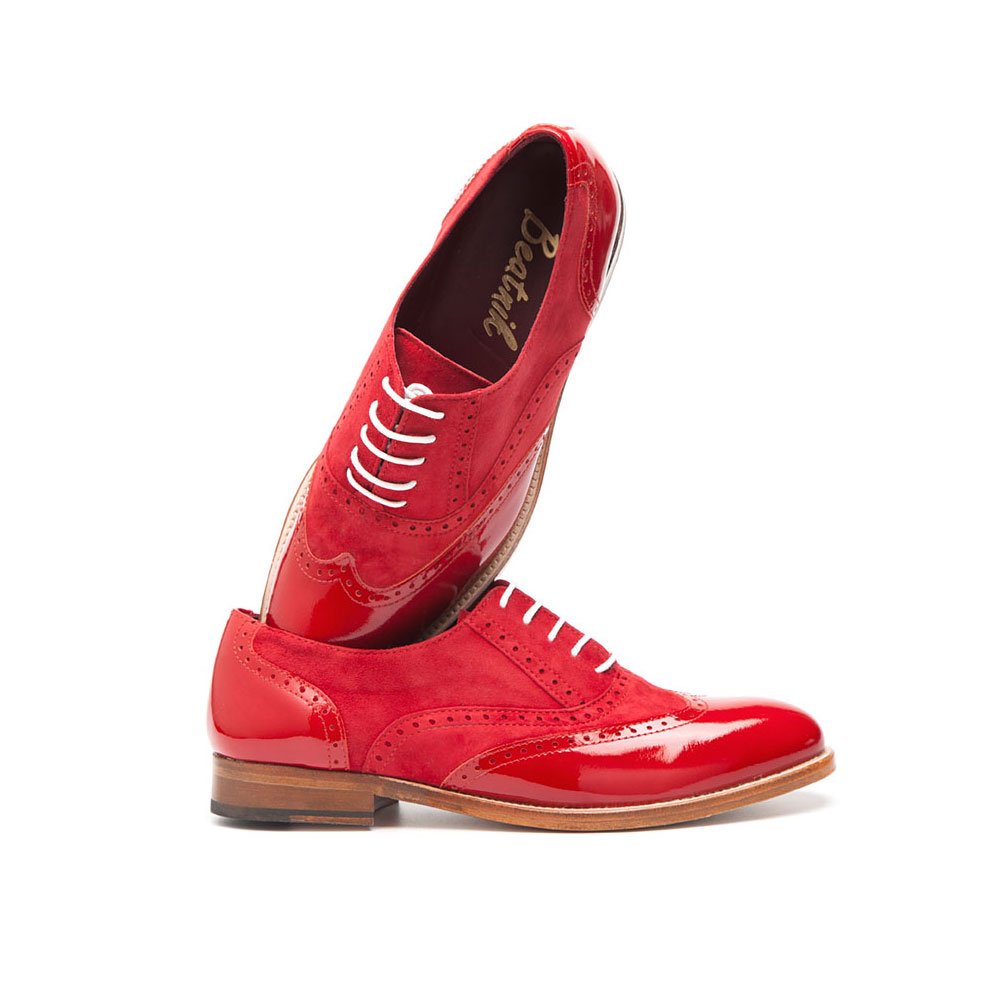 Red Oxford Shoes for women Lena Too red in suede and ...