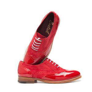 Lena Too red zapato rojo en ante y charol Oxford mujer por Beatnik shoes