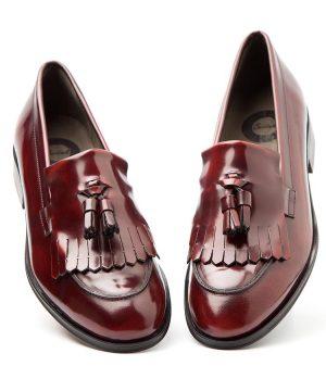 Red Tassel Loafer for women Tammi Handmade in Spain by Beatnik Shoes