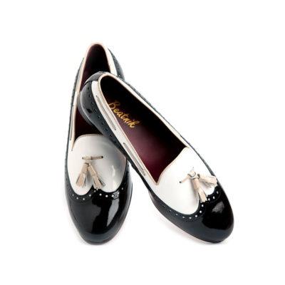 bailarina bicolor blanca y negra en charol beatnik shoes