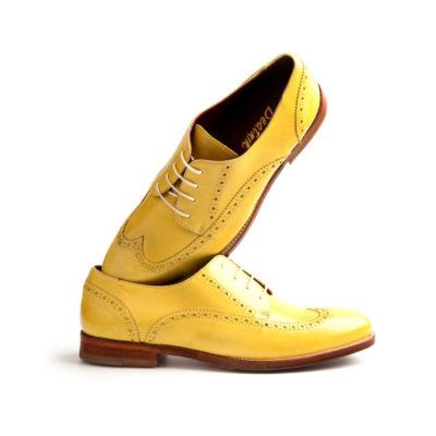 Zapato estilo Oxford de mujer en amarillo hecho a mano por Beatnik Shoes
