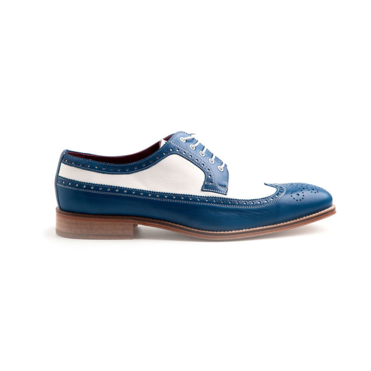 Two tone blue and white spectators for men Lucien Handmade in Spain by Beatnik Shoes