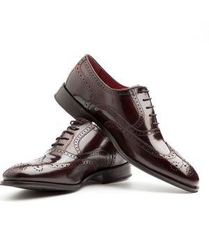Zapato Oxford de hombre en cuero rojo por Beatnik Shoes