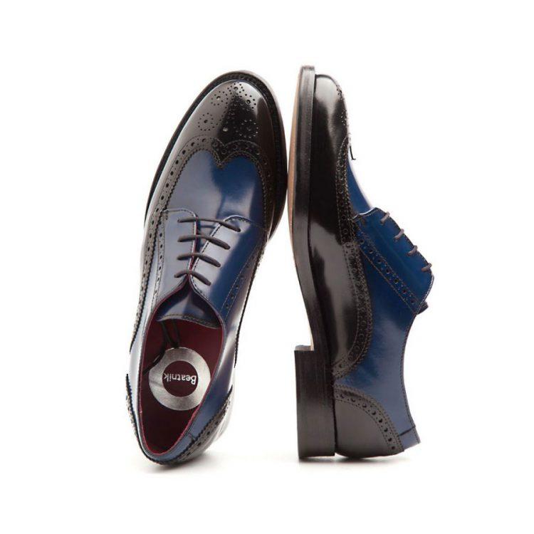 Zapato de cordones bicolor de mujer azul y negro Ethel por Beatnik