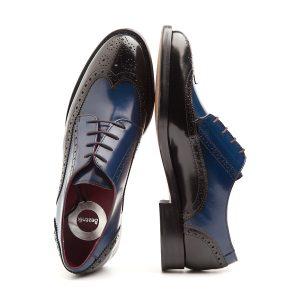 Zapato de cordones para mujer en piel azul y negro Ethel