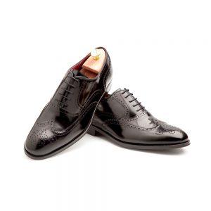 Black Oxford shoes full brogue wingtip Holmes deep black by Beatnik Shoes