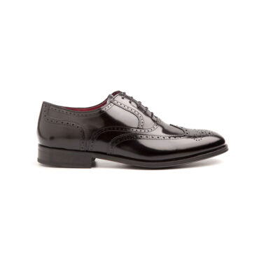 Black Oxford shoes full brogue wingtip Holmes deep black by Beatnik Shoes