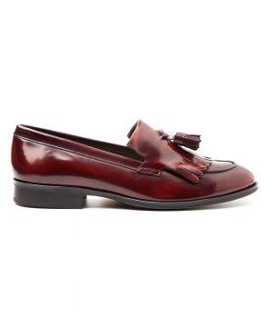 Handmade burgundy tassel loafers for women Tammi by Beatnik Shoes
