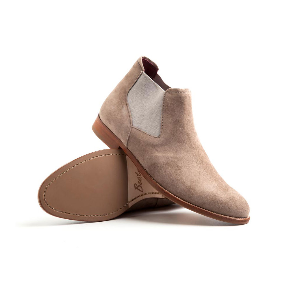 Suede Chelsea Boots for women in nude