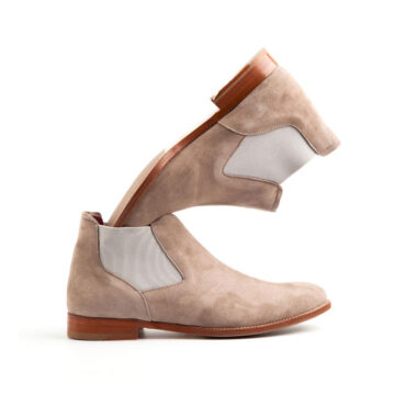 Nude Suede Chelsea ankle boots for women Ella Handmade in Spain by Beatnik Shoes