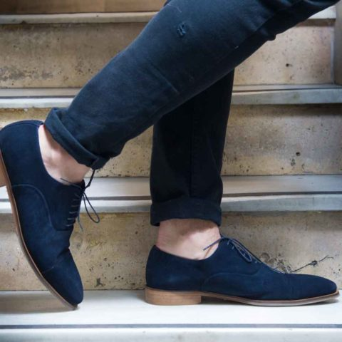 Zapatos de estilo Oxford en ante azul para hombre Corso Blues hecho a mano en España por Beatnik Shoes
