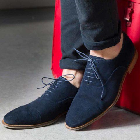 Zapatos Oxford en ante azul para hombre Corso Blues hecho a mano en España por Beatnik Shoes