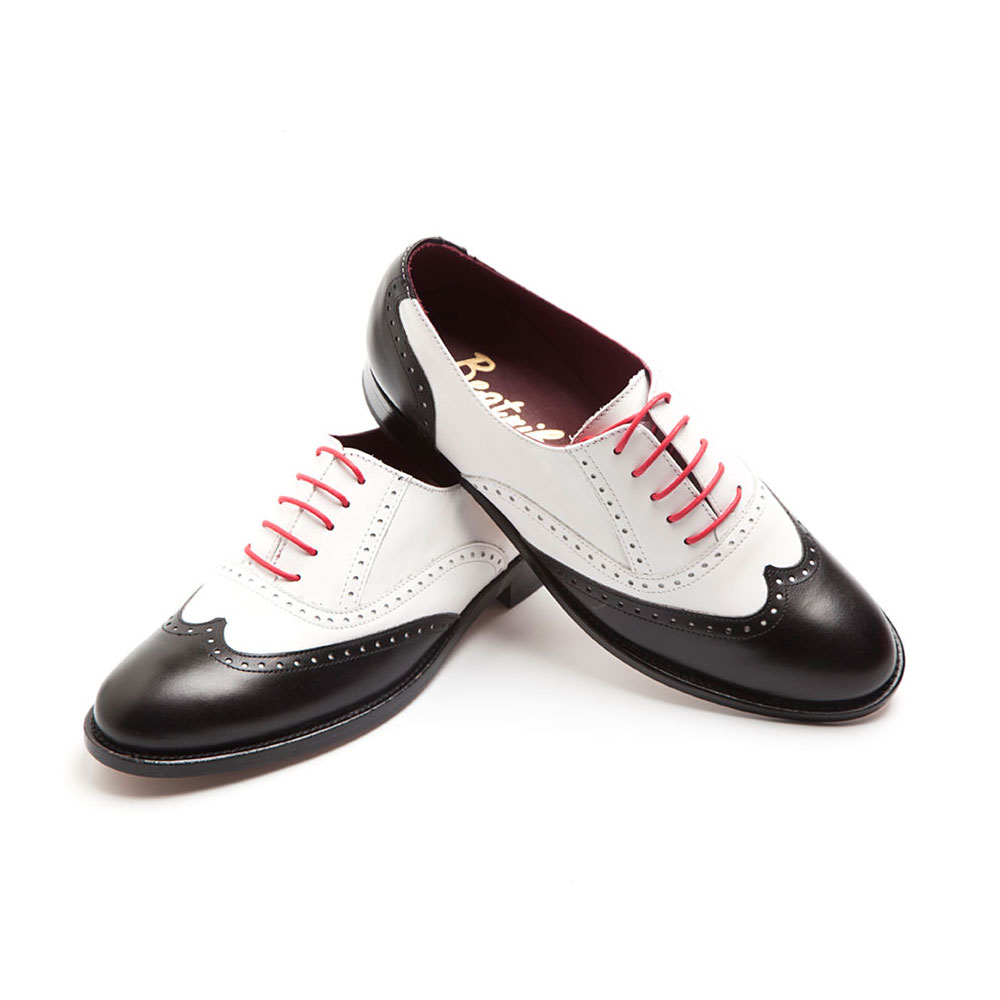 d94abe9885ca Two-tone Black and White Oxford style spectators for women Lena BW Handmade  in Spain