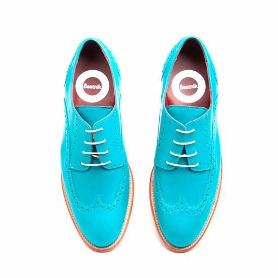Blue aquamarine brogue shoes for women Ethel Aqua Handmade in Spain by Beatnik Shoes