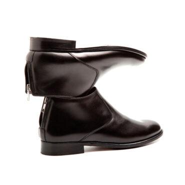 Botas negras de caña bajo y sin tacón de mujer en piel negra Astrud Black