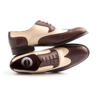 Zapato bicolor estilo Oxford de hombre en piel marrón y beige Holmes Beige & Brown