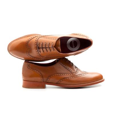 Zapato estilo Oxford de mujer en piel marrón Lena Brown