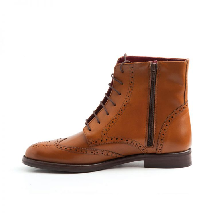 Classic Brown Brogue laces Oxford Boots for women Handmade by Beatnik Shoes