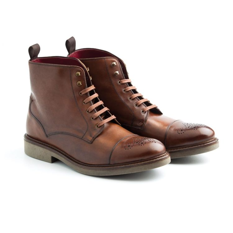 Brown leather laces boots for men Truman