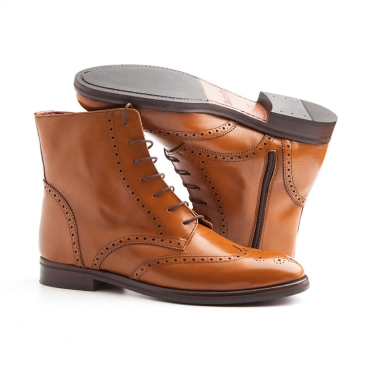 Classic Brown Brogue laces Boots for women Handmade by Beatnik Shoes