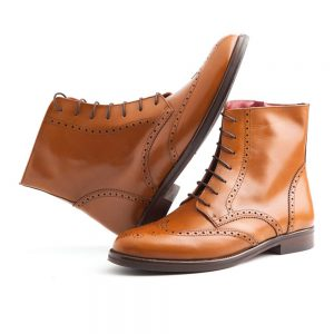 Brown leather brogue boots for women Barbara by Beatnik Shoes