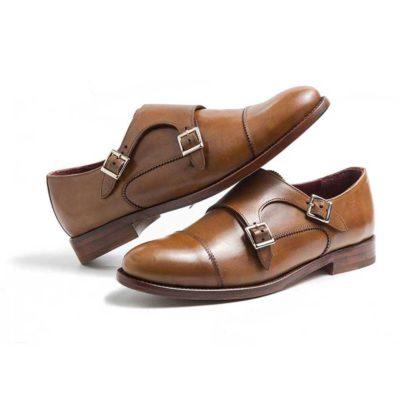 d9a6d19e801c5 Zapato dos hebillas de mujer en piel marrón June Brown