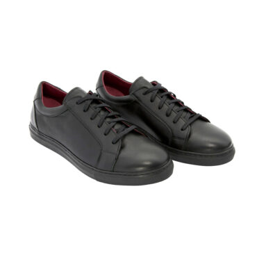 Harper black leather casual smart sneakers for men and women handmade in Spain by Beatnik Shoes