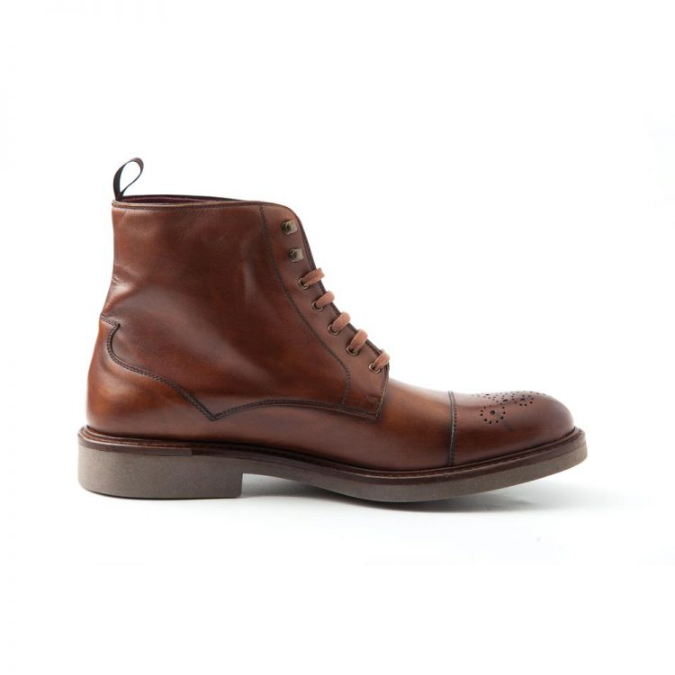Botas de cordones para hombre en piel marrón Truman