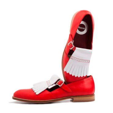 Zapato estilo Mary Jane de mujer en piel roja y blanca Brenda Red White