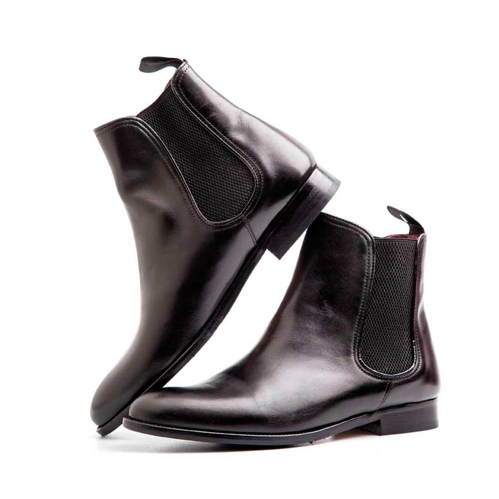 Black leather Chelsea boots for women