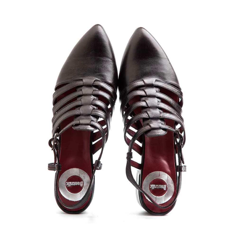 68f14df8daf Pointy black leather sandal for women by Beatnik Shoes. Pointy black  leather sandal for women by Beatnik Shoes