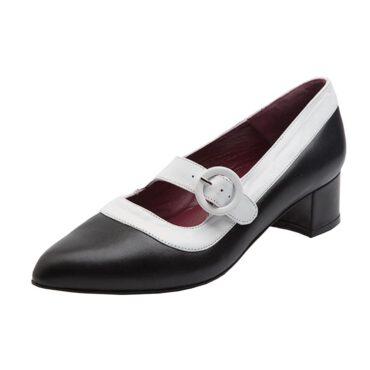 Zapato bicolor de tacón medio hecho a mano en España Sylvie Black & White