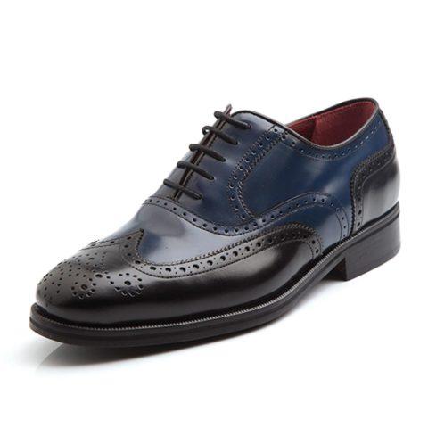 Zapato Oxford bicolor de hombre Holmes Black & Blue hecho a mano en España por Beatnik Shoes
