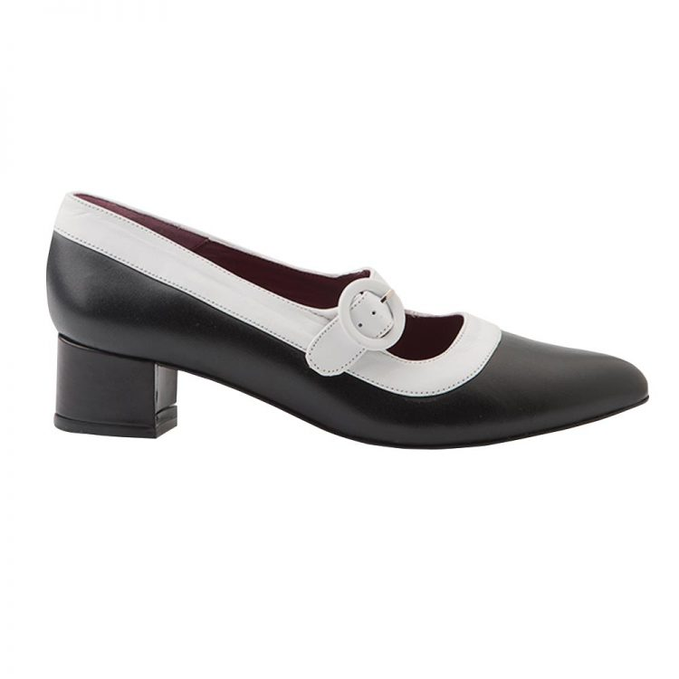4 cm heels two-tone black and white ceremony shoes for women Sylvie BW