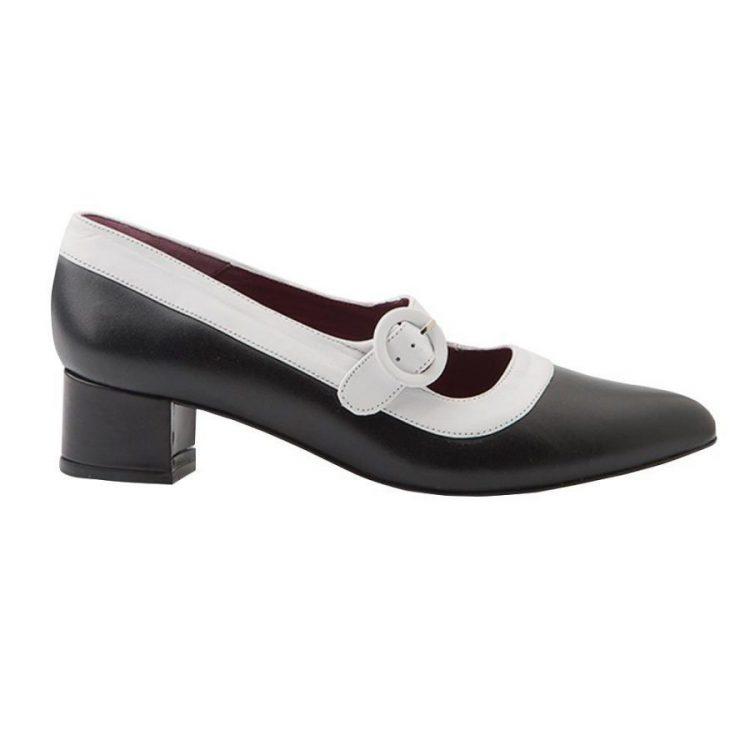 Zapato bicolor blanco y negro de tacón medio hecho a mano en España Sylvie BW