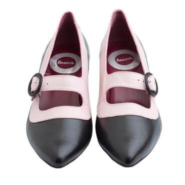 Zapato de salon bicolor rosa y negro con hebilla para mujer Sylvie BP