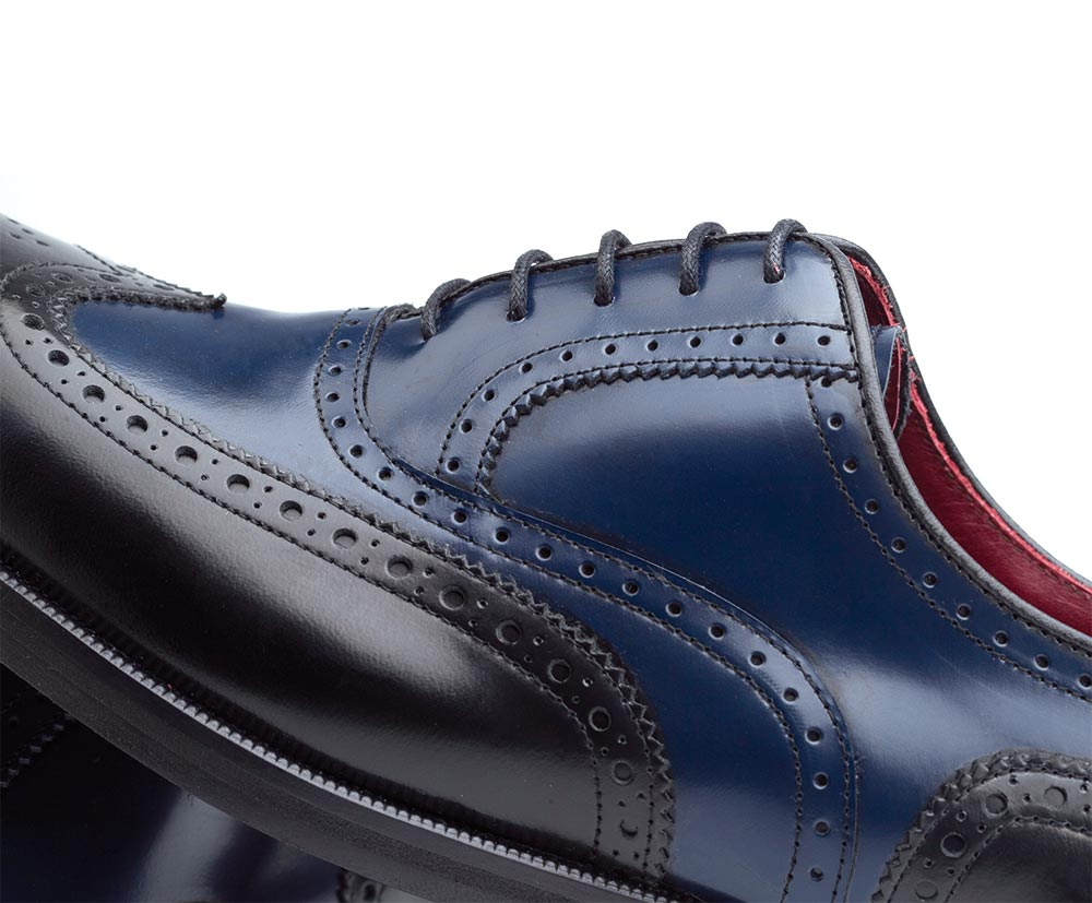Mens Handmade Fashion Two tone Leather Beige and Blue Wingtip Leather Sole shoes